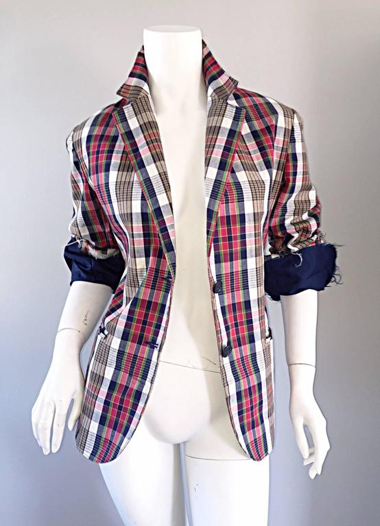 Incredible, and IMPOSSIBLE TO FIND Libertine One Of A Kind blazer!!! Up-cycled vintage tartan plaid blazer, with signature Libertine twists. Retailed for over $2,800! Features hand-painted skull on the back, with re-structured hems (with unfinished