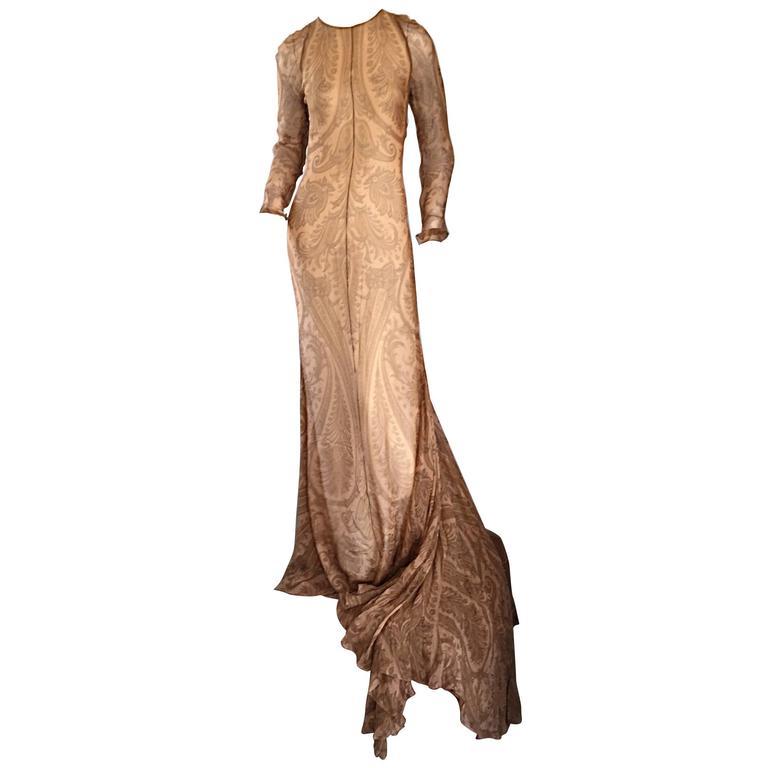 148c81908e Spectacular Vintage Bill Blass Original Runway Sample Gown w  Dramatic  Train For Sale