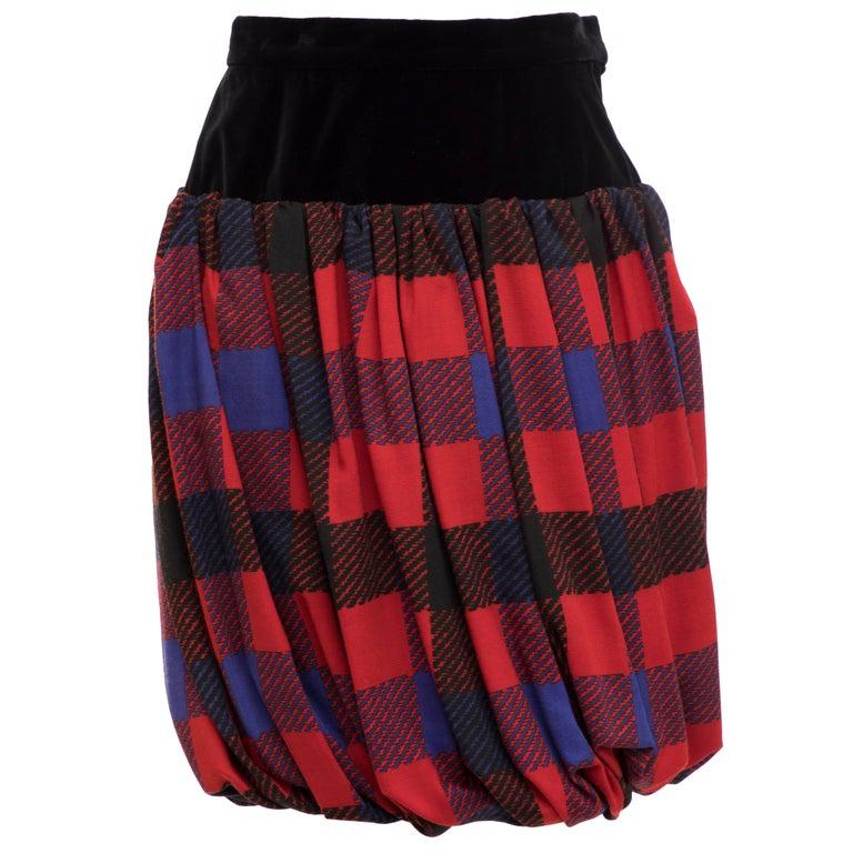 Yves Saint Laurent Rive Gauche Silk Wool Challis Balloon Skirt, Circa 1980s For Sale