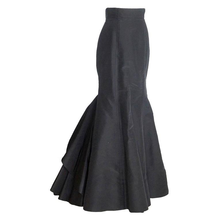OSCAR de la RENTA skirt silk tafetta long formal remarkable  4 / 6 do peek  For Sale