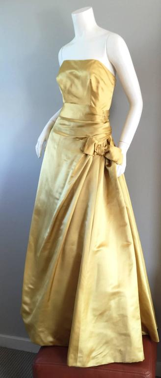 Exceptional 1950s Harvey Berin for I. Magnin Gold Vintage 50s Satin Gown / Dress In Excellent Condition For Sale In San Francisco, CA