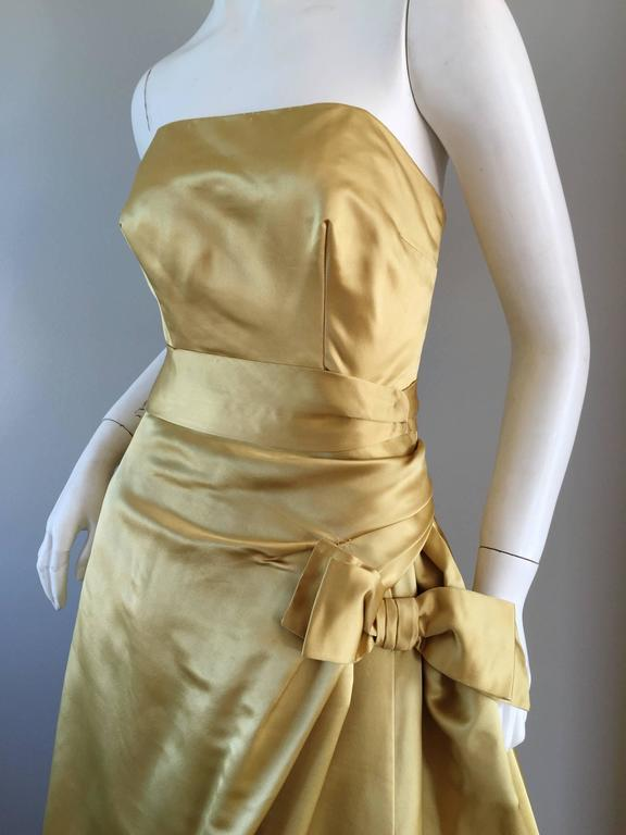 Exceptional 1950s Harvey Berin for I. Magnin Gold Vintage 50s Satin Gown / Dress For Sale 6