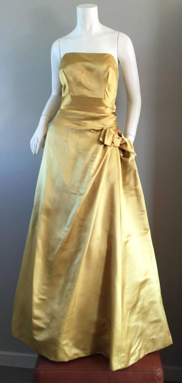 Women's Exceptional 1950s Harvey Berin for I. Magnin Gold Vintage 50s Satin Gown / Dress For Sale