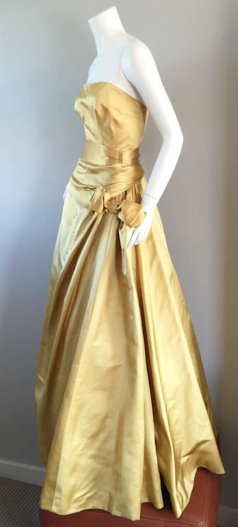 Exceptional 1950s Harvey Berin for I. Magnin Gold Vintage 50s Satin Gown / Dress For Sale 5
