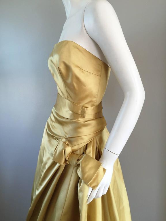 Exceptional 1950s Harvey Berin for I. Magnin Gold Vintage 50s Satin Gown / Dress For Sale 4