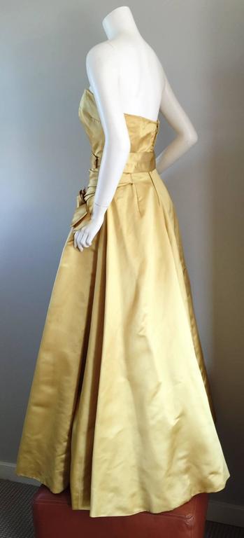 Exceptional 1950s Harvey Berin for I. Magnin Gold Vintage 50s Satin Gown / Dress For Sale 1