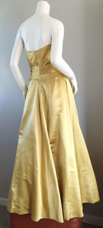 Exceptional 1950s Harvey Berin for I. Magnin Gold Vintage 50s Satin Gown / Dress For Sale 2