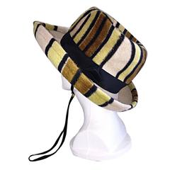 Rare Vintage Yves Saint Laurent Striped Hat YSL