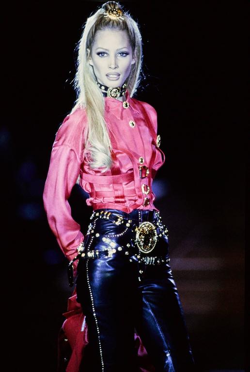 Iconic GIANNI VERSACE COUTURE Red Bondage Harness Bodice Fall 1992 6