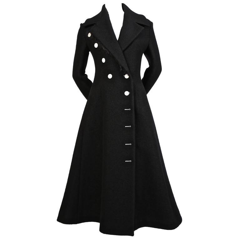 unworn CELINE black wool runway coat with asymmetrical buttons - fall 2014 For Sale