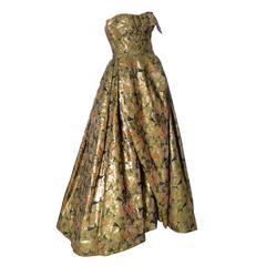 Michael Novarese 1960s Vintage Gold Metallic Audrey Hepburn Evening gown Dress