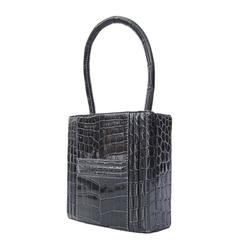 Authentic Hermes Padlock Handbag Grey Crocodile Niloticus RARE