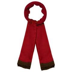 Bottega Veneta Burgundy & Leopard Print Wool Scarf
