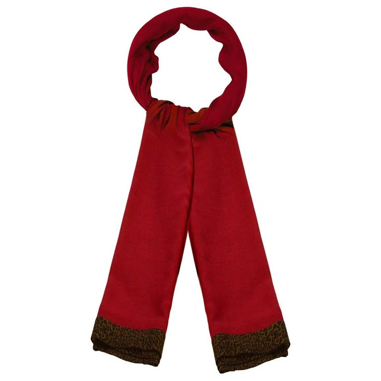 Bottega Veneta Burgundy & Leopard Print Wool Scarf For Sale