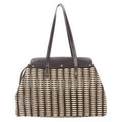 Lambertson Truex Large Wicker Handbag With Leather Trim