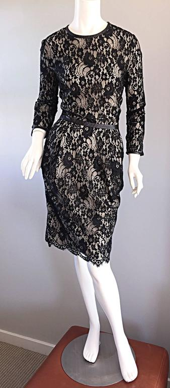 Narcisco Rodriguez Black + Nude French Lace Dress w/ Leather Accents  For Sale 2