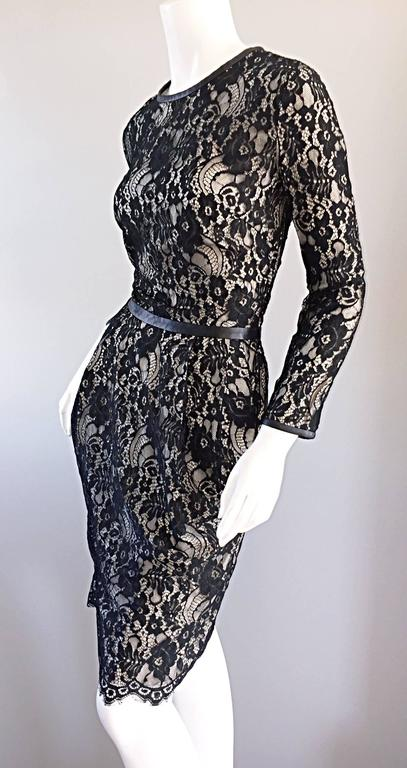 Women's Narcisco Rodriguez Black + Nude French Lace Dress w/ Leather Accents  For Sale