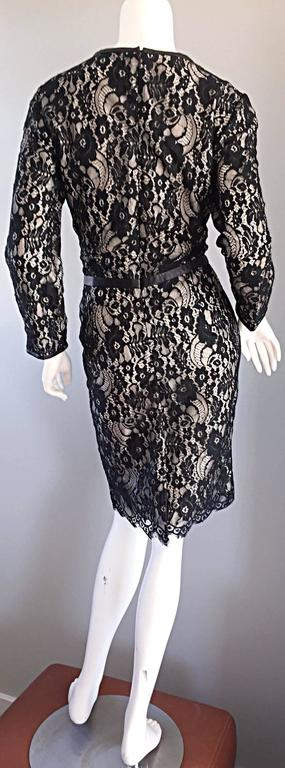 Narcisco Rodriguez Black + Nude French Lace Dress w/ Leather Accents  For Sale 1