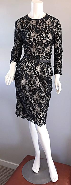Narcisco Rodriguez Black + Nude French Lace Dress w/ Leather Accents  In Excellent Condition For Sale In Chicago, IL
