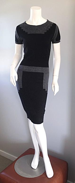 Tom Ford For Yves Saint Laurent Cashmere Dress w/ Gray Geometric Color Blocks 6