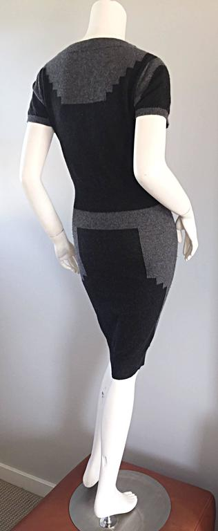 Tom Ford For Yves Saint Laurent Cashmere Dress w/ Gray Geometric Color Blocks 2