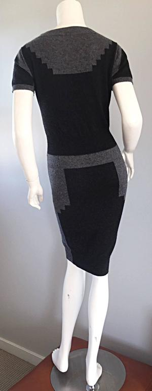 Tom Ford For Yves Saint Laurent Cashmere Dress w/ Gray Geometric Color Blocks 4