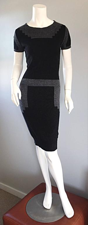 Tom Ford For Yves Saint Laurent Cashmere Dress w/ Gray Geometric Color Blocks 5