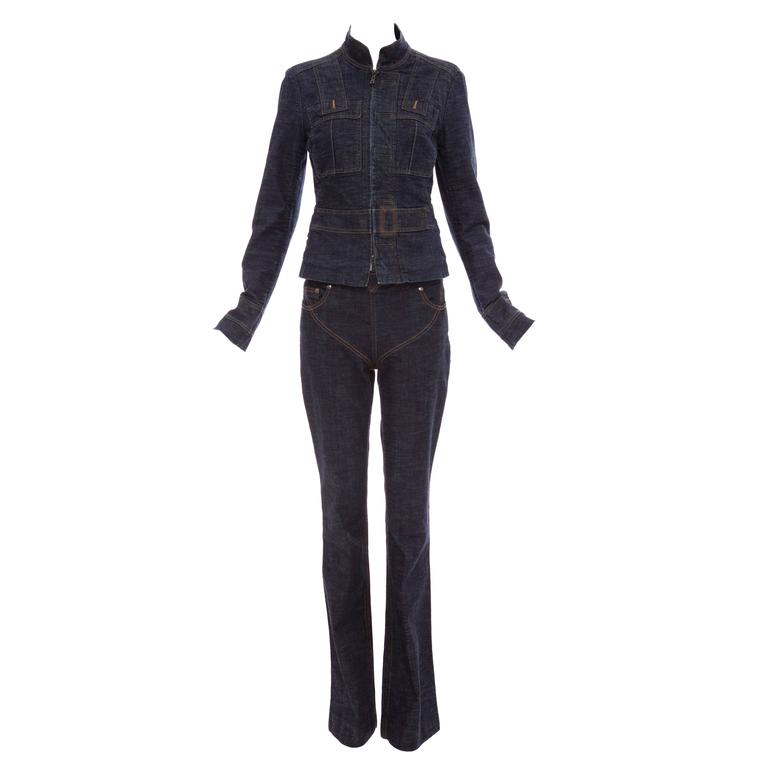 Tom Ford For Yves Saint Laurent Denim Pant Suit, Circa 2003