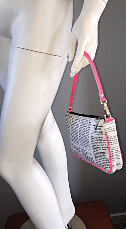 "Rare John Galliano "" Sex and the City "" Newspaper ' Newsprint ' Purse Bag 5"