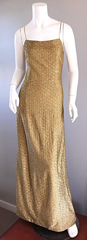 1970s James Galanos Gold Metallic Sexy Silk Vintage 70s  Dress / Gown  3