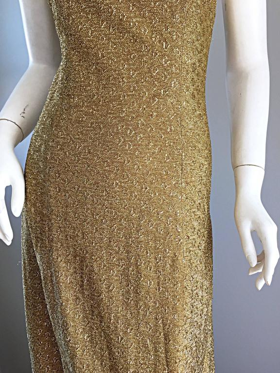 1970s James Galanos Gold Metallic Sexy Silk Vintage 70s  Dress / Gown  7