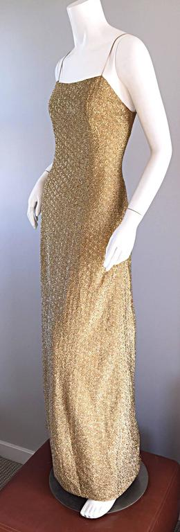 1970s James Galanos Gold Metallic Sexy Silk Vintage 70s  Dress / Gown  2