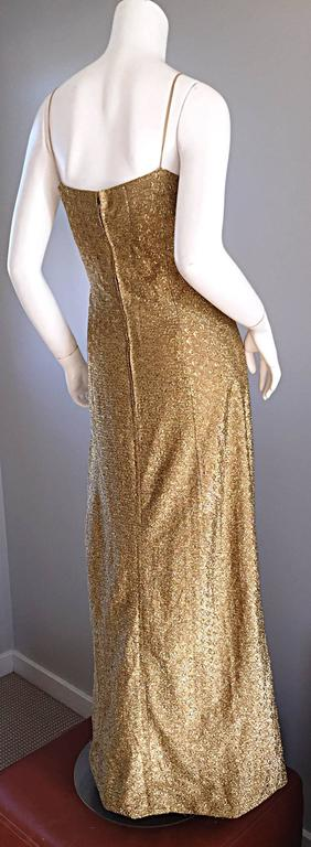 1970s James Galanos Gold Metallic Sexy Silk Vintage 70s  Dress / Gown  5