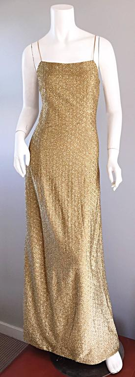 1970s James Galanos Gold Metallic Sexy Silk Vintage 70s  Dress / Gown  4