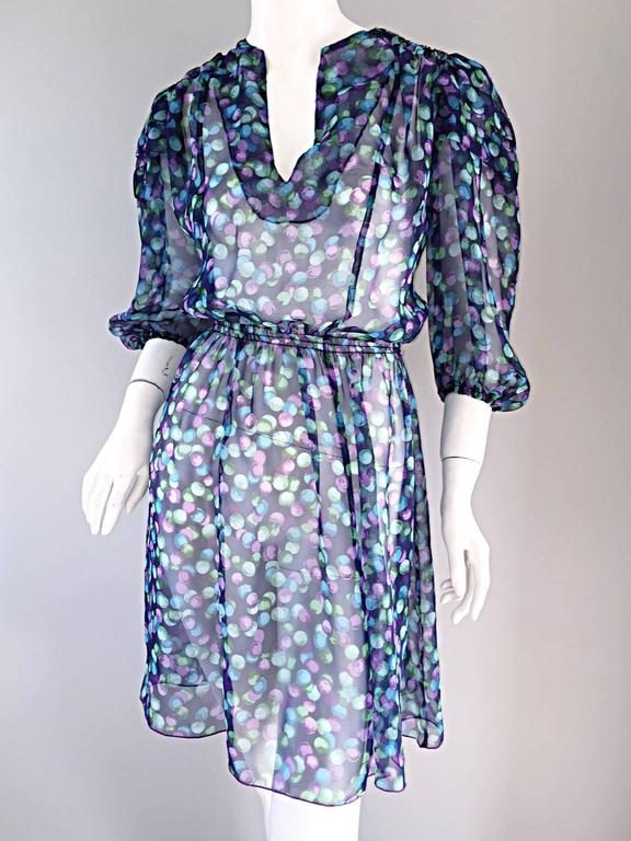 Women's Vintage Casalino Necklace Print Silk 1970s Boho 70s Dress Tunic Made In Italy For Sale
