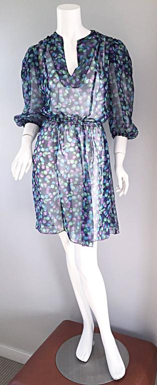 Vintage Casalino Necklace Print Silk 1970s Boho 70s Dress Tunic Made In Italy For Sale 1