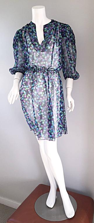 Gray Vintage Casalino Necklace Print Silk 1970s Boho 70s Dress Tunic Made In Italy For Sale