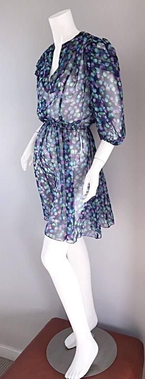 Vintage Casalino Necklace Print Silk 1970s Boho 70s Dress Tunic Made In Italy For Sale 2