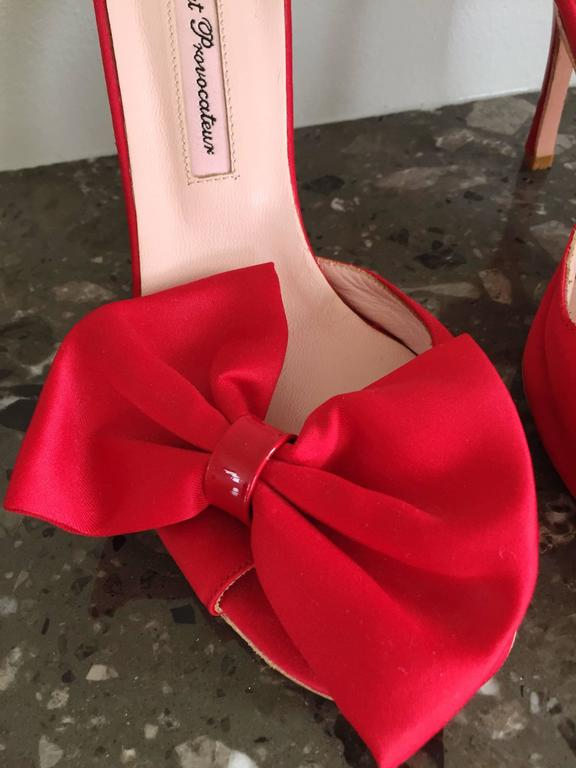 Agent Provocateur Sexy Red Bow Heels Slides Size 36 / 6 Made in Italy Never Worn For Sale 3
