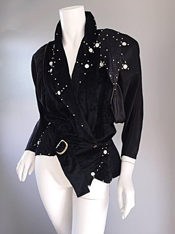 Amazing Vintage Eccetera Made In Italy Avant Garde Black Belted Blouse Or Jacket 7