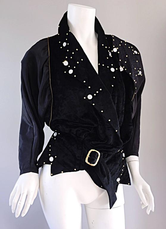 Women's Amazing Vintage Eccetera Made In Italy Avant Garde Black Belted Blouse Or Jacket For Sale