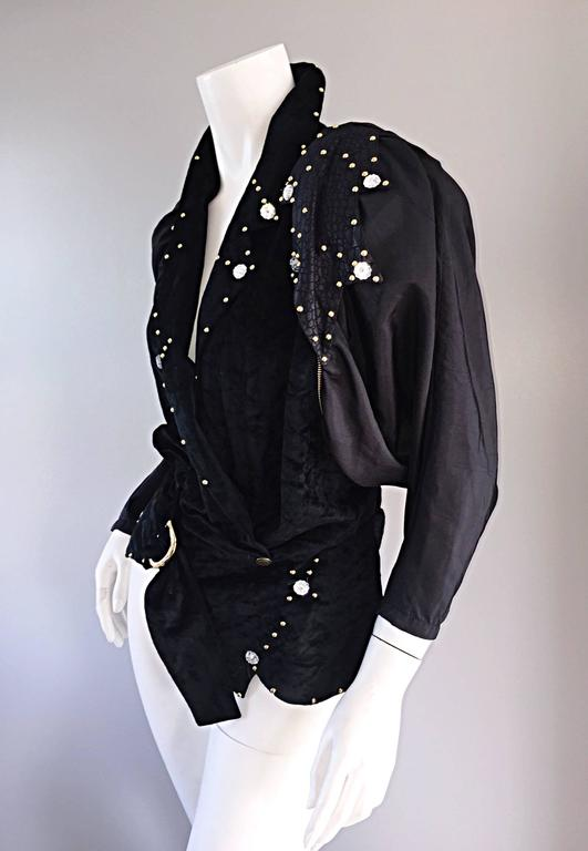 Amazing Vintage Eccetera Made In Italy Avant Garde Black Belted Blouse Or Jacket 5