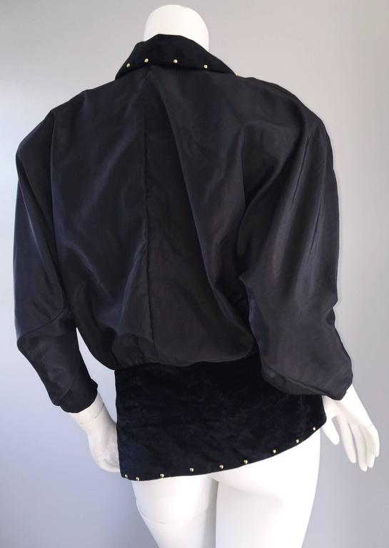 Amazing Vintage Eccetera Made In Italy Avant Garde Black Belted Blouse Or Jacket 2