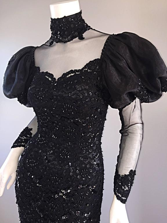 Amazing 1980s Alfred Bosand Couture Black Silk Lace Beaded Mermaid Dress / Gown  For Sale 4