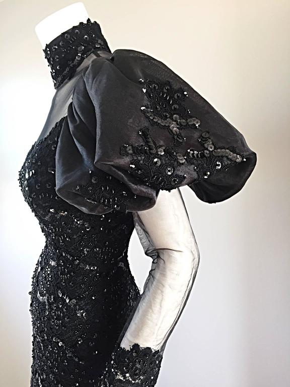 Amazing 1980s Alfred Bosand Couture Black Silk Lace Beaded Mermaid Dress / Gown  For Sale 5