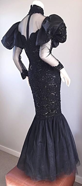 Women's Amazing 1980s Alfred Bosand Couture Black Silk Lace Beaded Mermaid Dress / Gown  For Sale