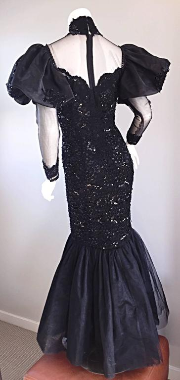 Amazing 1980s Alfred Bosand Couture Black Silk Lace Beaded Mermaid Dress / Gown  For Sale 2