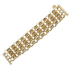 Givenchy Four Chain Hand Hammered Gold Plated Link Cuff Bracelet
