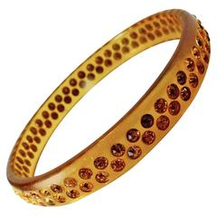 Vintage Art Deco 1930s Celluloid & Gold Rhinestones Bangle Bracelet
