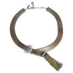 1960's Balenciaga Gilt Metal and White crystals Necklace